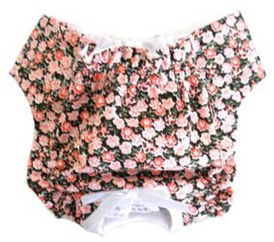 "Doggie Design Black with Pink Roses Panties - These pretty little panties are perfect for puppies who are still ""in training"" or little girls going through ""that time of the month.""  By placing a standard mini pad in the crotch area, you will end your worries of accidents and messes.  Made from bright colored soft cotton, they are completely machine washable.  Featuring wide elastic around the legs and waist, an adjustable Hook & Loop front closure, and are completely lined. Each panty is adorned with a little bow, making these panties not only pretty, but practical!"