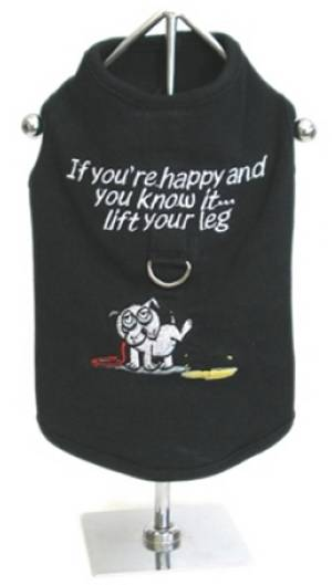 "Doggie Design ""If You're Happy And You Know It, Lift Your Leg"" Harness Tank - The one and only T-shirt/Tank with a built in, strong and secure, Nylon D-ring Harness, with a ""quick release"" buckle!   Made from high quality 100% cotton.  All shirts come with fully Embroidered Words and Artwork.  Patent Pending."