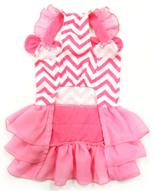 DOGO Design - Chevron Dress - Chevron patterned dress with 3-tier layered ruffled skirt and ruffled shoulder straps accented with bows. Leash hole.