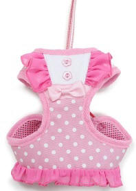DOGO - EasyGo BowDots Step-In Harness with Leash - Polka dot with ruffle trims accented with a bowtie all pretty in pink!  The best all-in-one soft harness.  Easy, safe, and comfortable to wear.  It features buckless step-in design that is secured by a simple slide down clip.  Matching leash is included with every EasyGO!