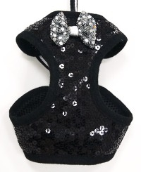 DOGO - EasyGo Sequin Step-In Harness with Leash (Black or Red) - Shiny bling sequin styled EasyGO.  The best all-in-one soft harness.  Easy, safe, and comfortable to wear.  It features buckle-less step-in design that is secured by a simple slide down clip.  Matching leash is included with every EasyGO!