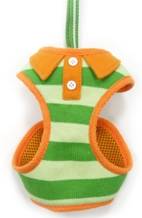 DOGO Design - EasyGo Polo Green Step-In Harness with Leash - Green stripes with orange trim polo shirt styled collar and buttons.  The best all-in-one soft harness.  Easy, safe, and comfortable to wear.  It features buckle-less step-in design that is secured by a simple slide down clip.  Matching lead is included with every EasyGO!