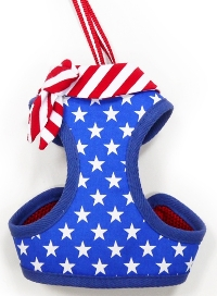 DOGO - EasyGo USA Step-In Harness with Leash - American Flag themed with stars and stripes accented with a sailor tie.  The best all-in-one soft harness.  Easy, safe, and comfortable to wear.  It features buckless step-in design that is secured by a simple slide down clip.  Matching lead is included with every EasyGO!