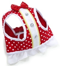DOGO Snap Go Mini Dots Harness - Polka dotted design accented with red bowtie and decorative rhinestone buttons.  SnapGO is a soft vest styled harness.  Step in, snap the buckle, adjust girth tightness with Velcro closure, attach the lead to two D rings and GO!
