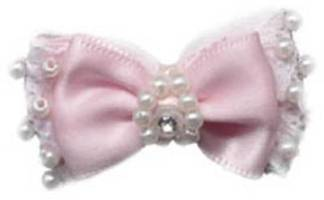 Pure Country - Pink Satin Lace Pearl Rhinestone Hairbow - Double-bow of pink satin and lace, embellished with faux pearls and a rhinestone center.  1-1/2 inch bow with double rubber band.
