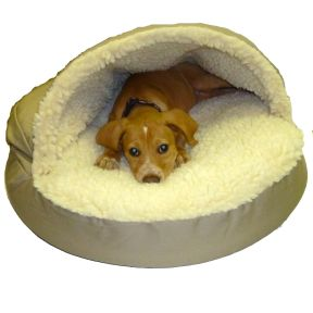 Snoozer Orthopedic Cozy Cave Pet Bed.  Designed for dogs who love to nestle under cover or beneath piles of pillows. The orthopedic cozy cave is topped with a raised hood that satisfies your pet�s instinctive desire to burrow. A plush simulated lamb�s wool interior keeps them warm throughout the year.