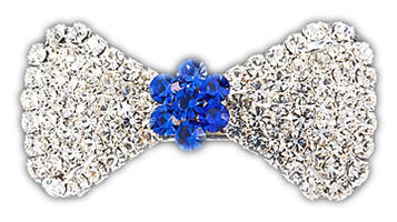 "VIPoochy - Blue Sapphire Barrette - A real french clip securely holds this beautiful hair accessory, which is adorned with almost 100 hand-set crystals.  Light-weight, yet sturdy.  Approximately 1-3/4"" wide, 7/8"" tall at the largest part of the bow."