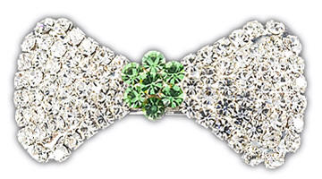 "VIPoochy - Peridot Barrette - A real french clip securely holds this beautiful hair accessory, which is adorned with almost 100 hand-set crystals.  Light-weight, yet sturdy.  Approximately 1-3/4"" wide, 7/8"" tall at the largest part of the bow."