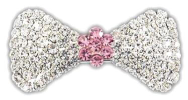 "VIPoochy - Pink Sapphire Barrette - A real french clip securely holds this beautiful hair accessory, which is adorned with almost 100 hand-set crystals.  Light-weight, yet sturdy.  Approximately 1-3/4"" wide, 7/8"" tall at the largest part of the bow."